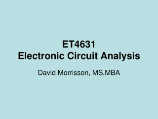 ET4631 Electronic Circuit Analysis
