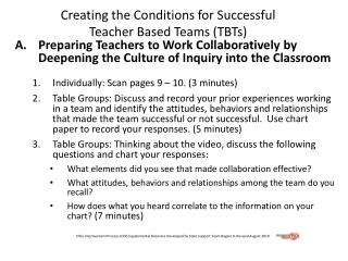 Creating the Conditions for Successful  Teacher Based Teams (TBTs)