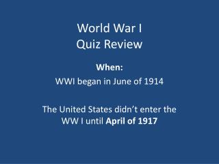 World War I Quiz Review