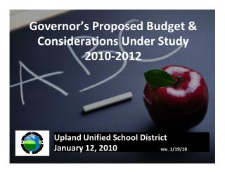 Governor's Proposed Budget & Considerations Under Study 2010-2012