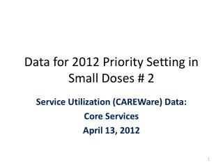 Data for 2012 Priority Setting in Small Doses # 2