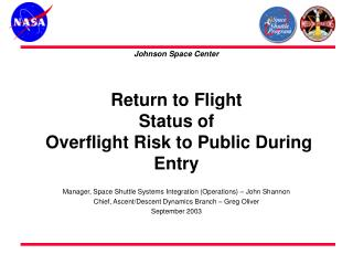 Return to Flight  Status of  Overflight Risk to Public During Entry
