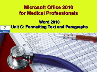 Microsoft  Office 2010 for Medical Professionals