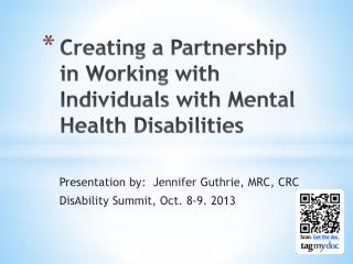Creating a Partnership in Working with Individuals with Mental Health Disabilities