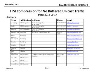 TIM Compression for No Buffered  Unicast  Traffic