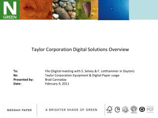 Taylor Corporation Digital Solutions Overview