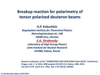 Breakup reaction for  polarimetry  of  t ensor  polarized deuteron beams