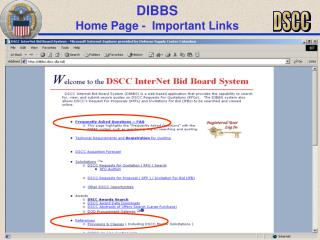 DIBBS Home Page - Important Links