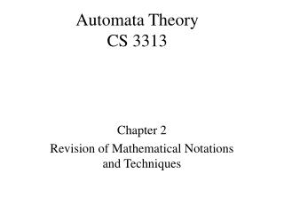 Automata Theory CS 3313