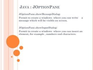Java :  JOptionPane