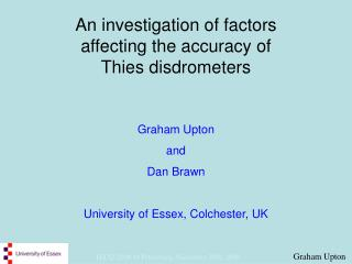 An investigation of factors  affecting the accuracy of  Thies disdrometers