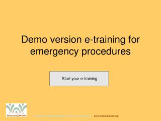 Demo version e-training for emergency procedures