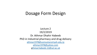 Dosage Forms  Strength technical presentation 2 of 4