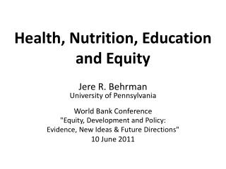 Health,  Nutrition, Education  and Equity