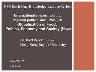 NSS Enriching Knowledge  Lecture Series :  International cooperation and
