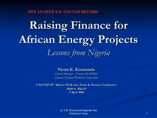 Raising Finance for  African Energy Projects Lessons from Nigeria