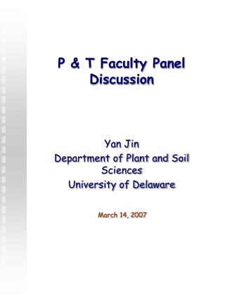 P & T Faculty Panel Discussion