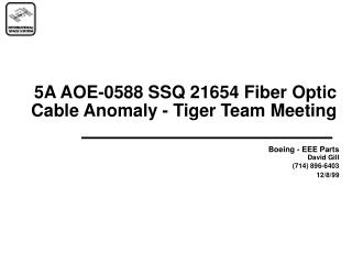 5A AOE-0588 SSQ 21654 Fiber Optic Cable Anomaly - Tiger Team Meeting