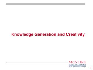 Knowledge Generation and Creativity