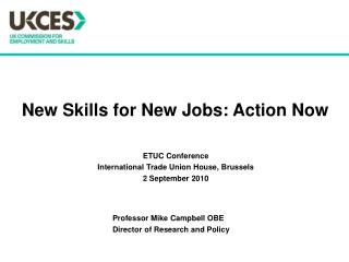 New Skills for New Jobs: Action Now