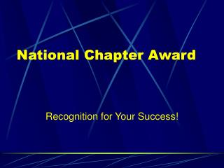 National Chapter Award