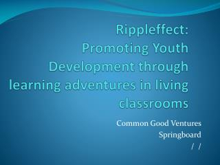Rippleffect: Promoting Youth Development through learning adventures in living classrooms