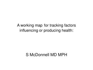 A working map for tracking factors influencing or producing health: