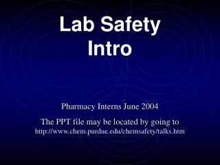 Lab Safety Intro