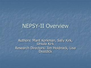 NEPSY-II Overview