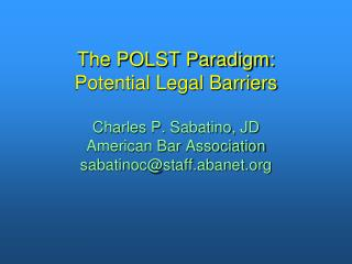 Potential Legal Barriers Study