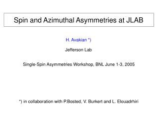 Spin and Azimuthal Asymmetries at JLAB