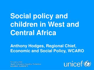 Social policy and children in West and Central Africa