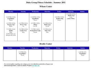 Duke Group Fitness Schedule - Summer 2011   Wilson Center