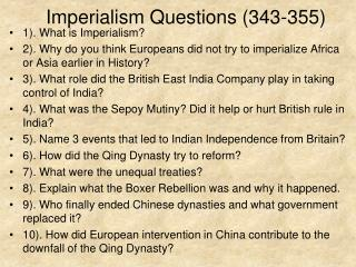 Imperialism Questions (343-355)