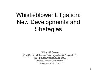 Whistleblower Litigation:  New Developments and Strategies