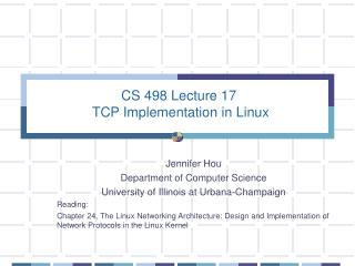 CS 498 Lecture 17  TCP Implementation in Linux