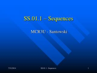 SS.01.1 – Sequences