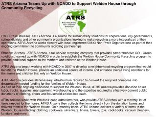 ATRS Arizona Teams Up with NCADD to Support Weldon House thr