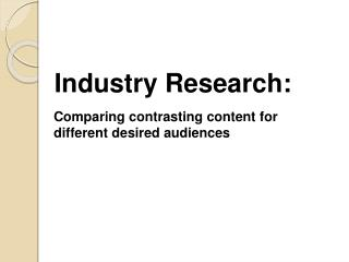 Industry Research: