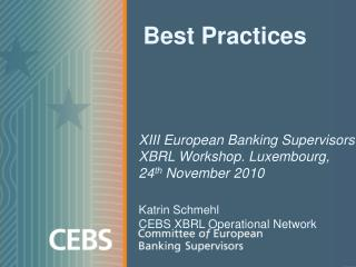 Best Practices  XIII European Banking Supervisors XBRL Workshop. Luxembourg,  24 th  November 2010