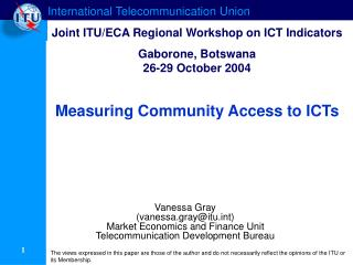 Measuring Community Access to ICTs