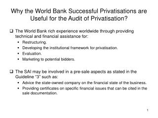 Why the World Bank Successful Privatisations are Useful for the Audit of Privatisation?