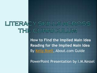 literacy Skills Across the curriculum