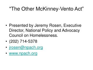 """The Other McKinney-Vento Act"""