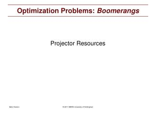 Optimization Problems:  Boomerangs