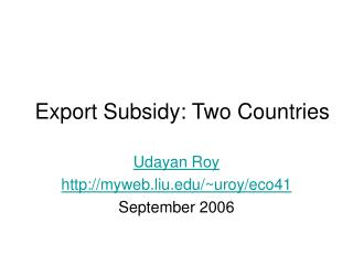 Export Subsidy: Two Countries
