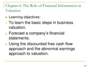 Chapter 6: The Role of Financial Information in Valuation
