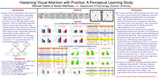 Hastening Visual Attention with Practice:  A Perceptual Learning Study