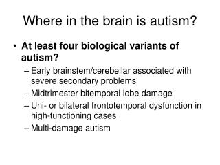 Where in the brain is autism?