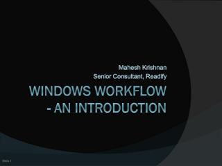 Windows Workflow - An introduction